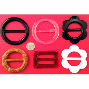 Accessories - T-Shirt Buckle Slide Assorted Colors & Shapes 6pc